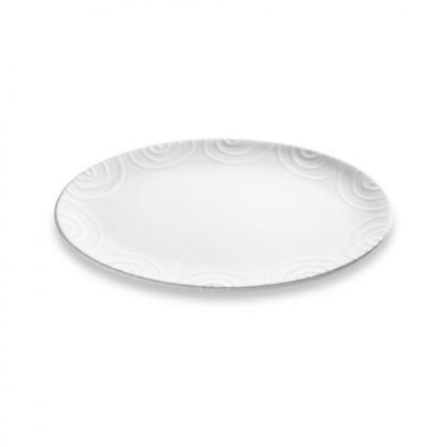 "Gmundner Keramik ""Weissgeflammt"" Platte oval 28 x 21 cm"
