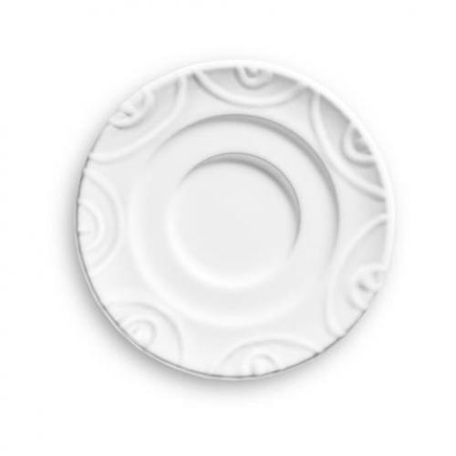 """Gmundner Keramik """"Weissgeflammt"""" Unterteller Espresso, Ø 11cm"""