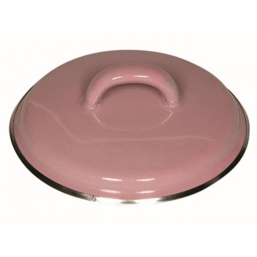 Riess Emaille Deckel mit Chromrand, Ø 12cm rosa