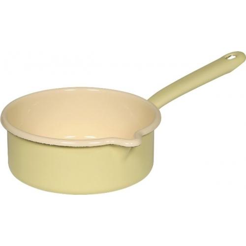 Riess Emaille Stielkasserolle mit Ausguß, Ø 16cm, 1 Lt (nilgrün/gelb)