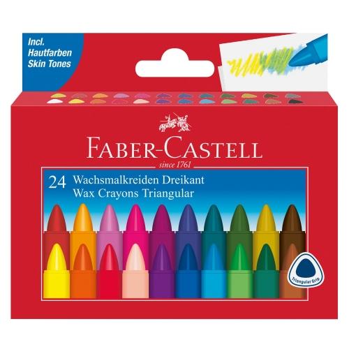 Faber-Castell 120024 Wachsmalkreiden, Dreikant, 24er im Kartoneui