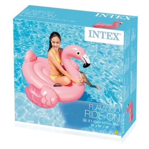 Intex Schwimmtier Flamingo, Aufblastier, Kinderbadeinsel mit Griffen