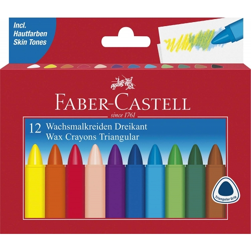 Faber-Castell 120010 Wachsmalkreiden, Dreikant, 12er Kartonetui