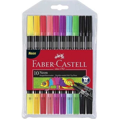 Faber-Castell Doppelfasermaler Neon, 24er Etui