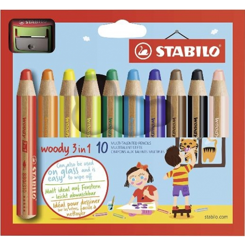 "Stabilo ""Woody 3 in 1"" Buntstift, Wasserfarbe & Wachsmalkreide in Einem, 10er"