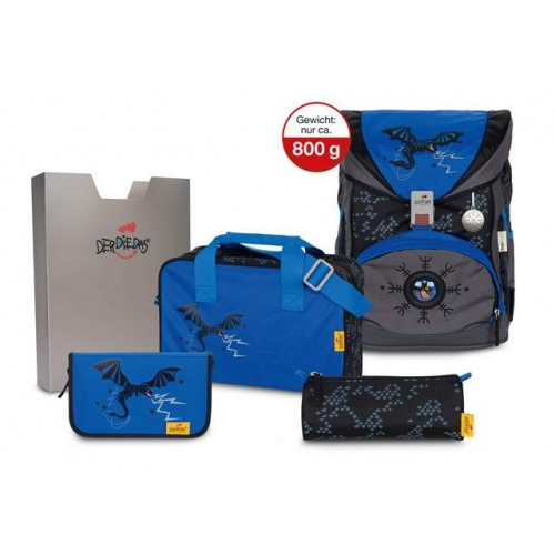DERDIEDAS Ergoflex Exklusiv Schulrucksack Set 5teilig  SUPERFLASH (Blue Dragon) LIMITED