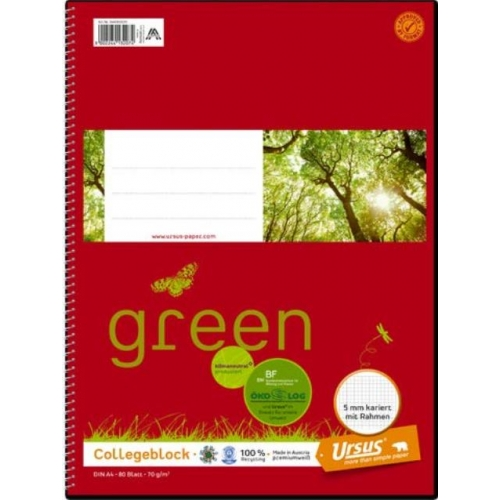 Ursus green Collegeblock, kariert mit Rahmen, A4, 70 g/m², weiß, 80 Blatt
