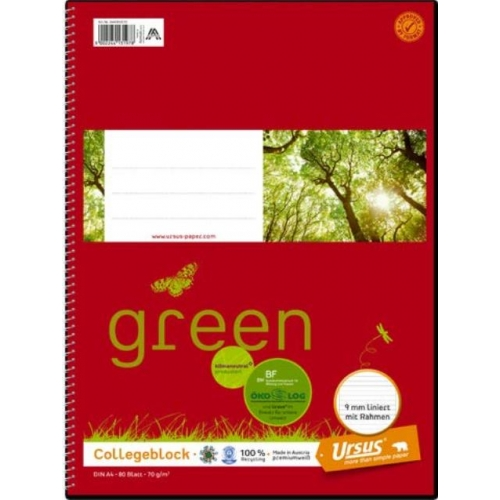 Ursus green Collegeblock, liniert mit Rahmen, A4, 70 g/m², weiß, 80 Blatt