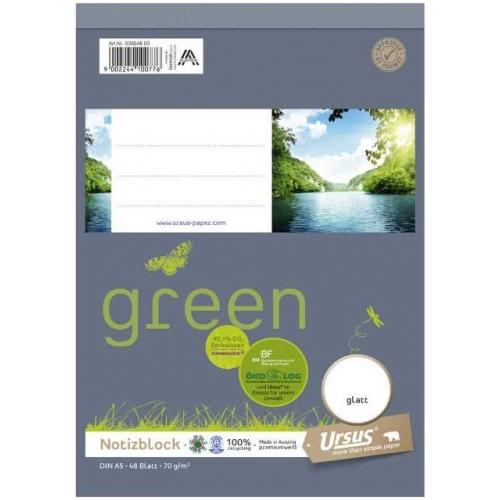 Ursus green Notizblock, glatt, A5, 70 g/m², 48 Blatt