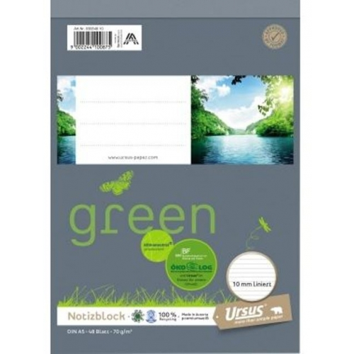Ursus green Notizblock, kariert, A5, 70 g/m², 48 Blatt