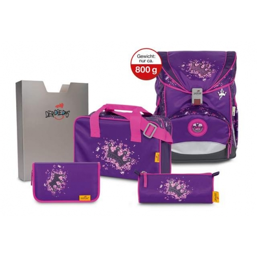 DERDIEDAS Schulrucksack Set ErgoFlex (Purple Princess)